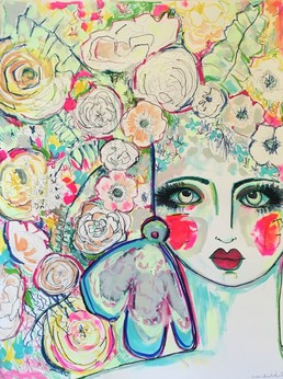 Bohemian abstract flower portrait painting