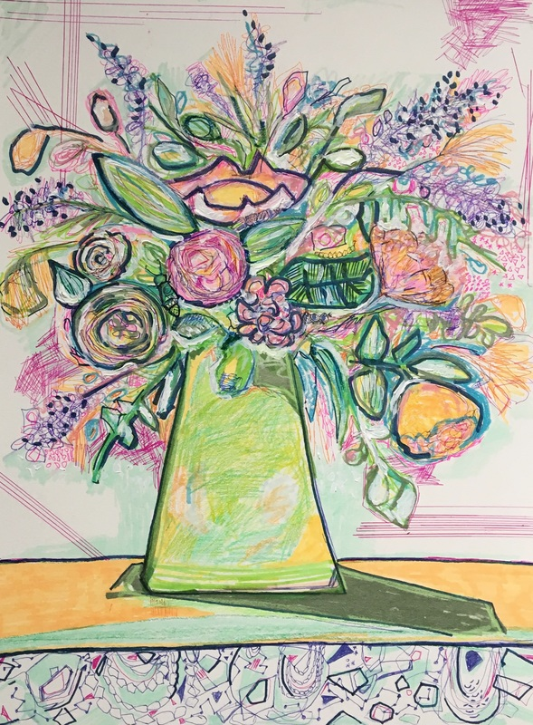 expressive flowers still life drawing, lulie wallace inspired