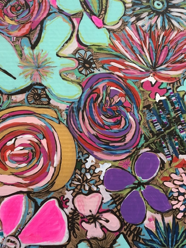 abstract floral painting on card board, floral mural, #floral murals